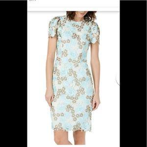 Calvin Klein Eyelet Floral Aqua Dress-NEW